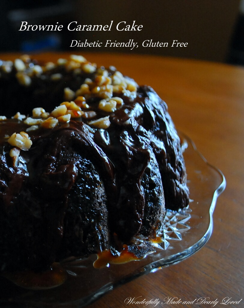A gluten free, diabetic friendly Brownie Caramel Cake that fits into a Trim and Healthy Lifestyle.