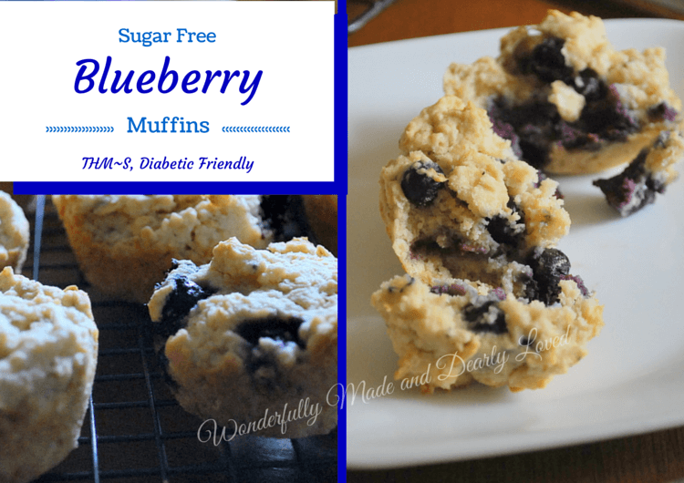 simple yet delicious sugar free, gluten free Blueberry Muffins. {THM~S, Gluten Free, Sugar Free}