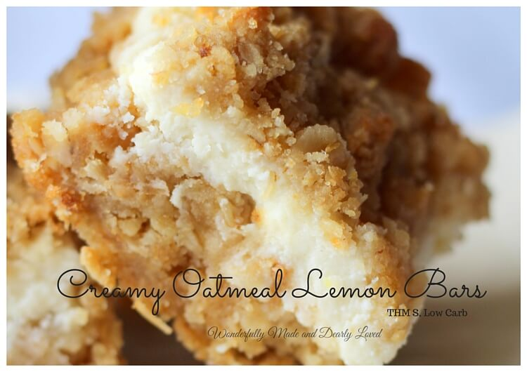 Creamy Oatmeal Lemon Bars (THM S, Sugar Free)