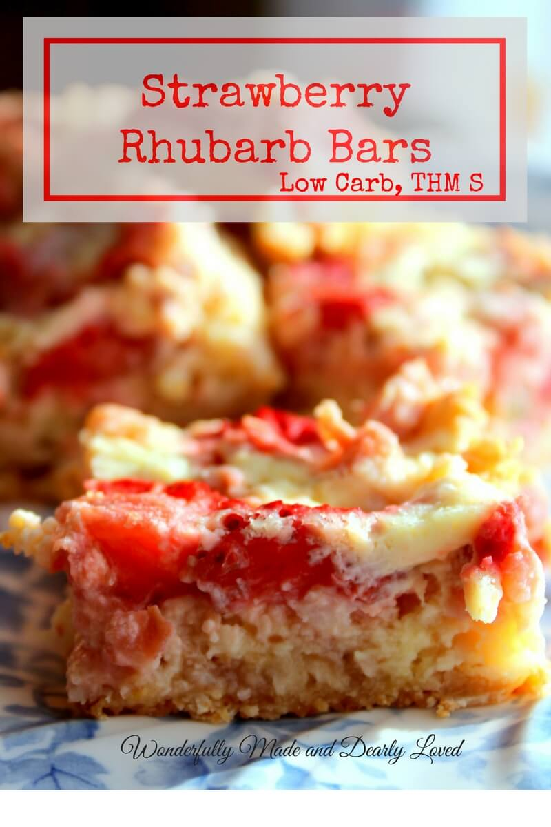 Strawberry Rhubarb Bars (THM S, Low Carb) are great for summer picnics and pot lucks.