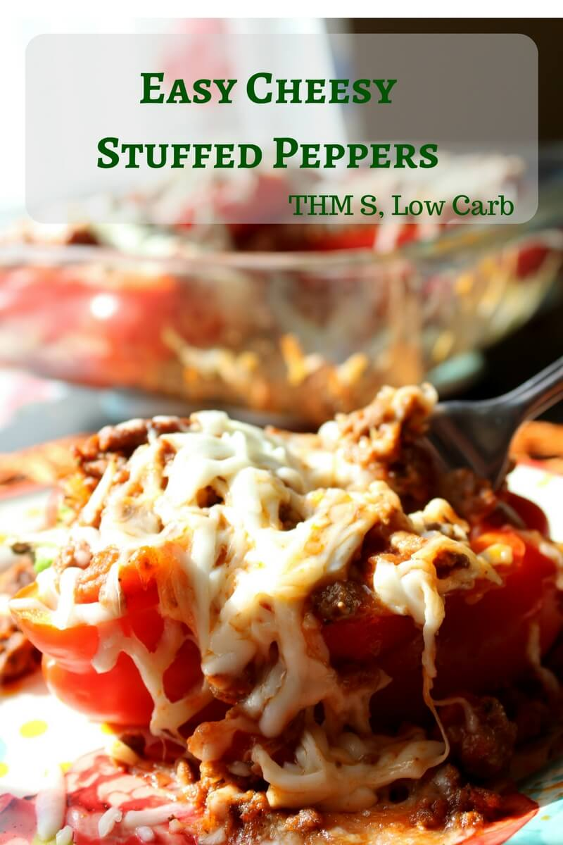 These Easy Cheesy Stuffed Peppers area or Low Carb great THM freezer meal that can be prepared in the oven or in the Instant Pot.